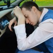 Man sleeps in a car. — Stock Photo #10502431