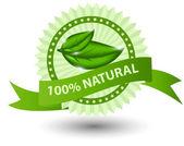 100% натуральных зеленая этикетка, изолированные на иллюстрации white.vector — Стоковое фото