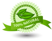 100% natural green label isolated on white.vector illustration — Stok fotoğraf