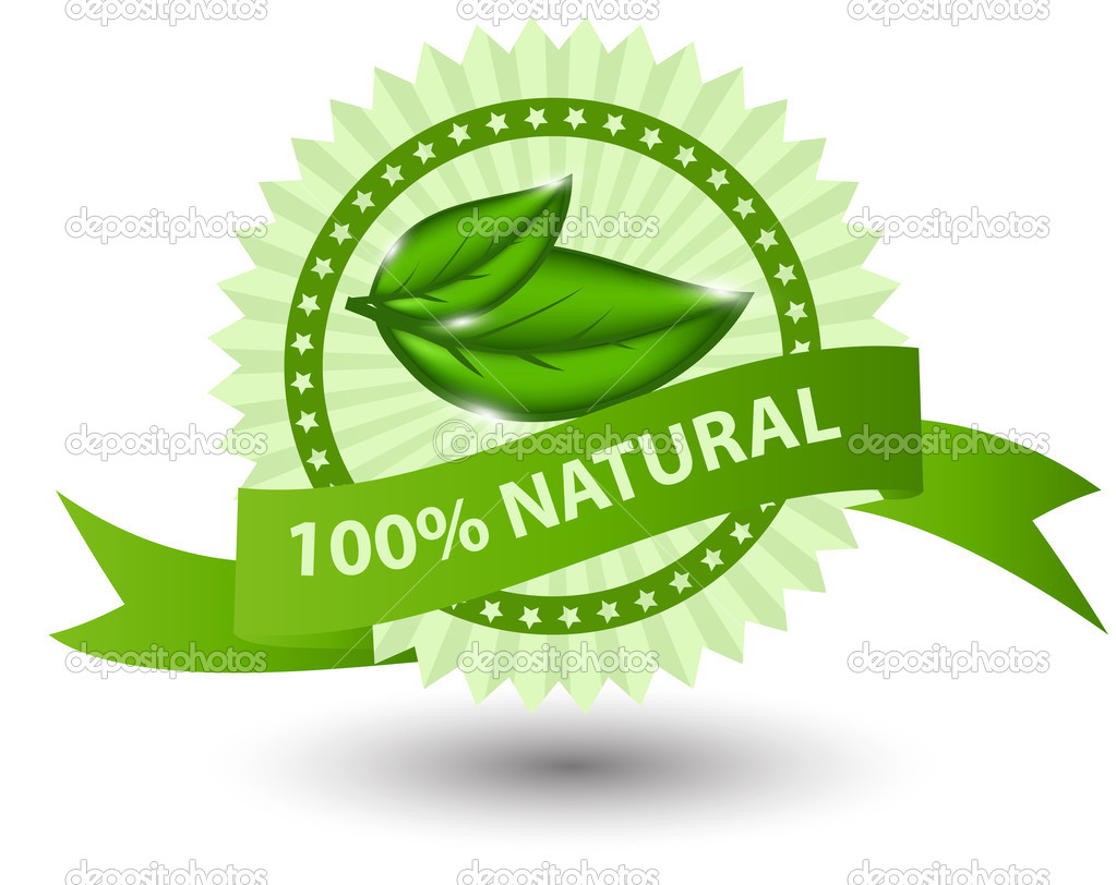 100% natural green label isolated on white.vector illustration — Stock Photo #10568875