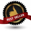 Stock Photo: Vector Best Seller label with red ribbon.