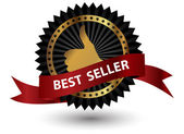 Vector Best Seller label with red ribbon. — Stock Photo