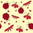 Romantic seamless pattern with dragonflies, ladybugs, hearts and — Lizenzfreies Foto
