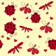 Romantic seamless pattern with dragonflies, ladybugs, hearts and — Stok fotoğraf