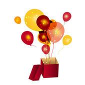 Pudełko z ilustracji wektorowych balony — Zdjęcie stockowe