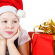 Stock Photo: Photo of beautiful little girl with red gift box