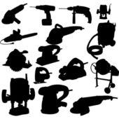 Collezione di silhouette di alimentazione strumento vettoriale vettoriale — Foto Stock