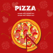 Pizza Menu Template, vector illustration - Stok fotoğraf