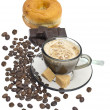 Cappuccino, donut, brown sugar and coffee beans on white backgro - Stock Photo