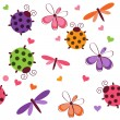 Romantic seamless pattern with dragonflies, ladybugs, hearts and — Stock Photo #8171734