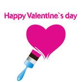 Corazón rosa y pincel. ilustración del concepto de amor abstracto. — Foto de Stock