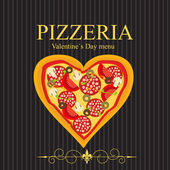 Pizza Menu Template on Valentine`s Day, vector illustration — Stock Photo