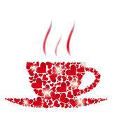 Vector koffie beker uit rode harten — Stockfoto