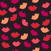 Bezešvé zdobené červenými rty tisk — Stock fotografie