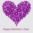 Vector valentine floral heart on white — Stockfoto