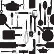 Vector seamless pattern of kitchen tools. - Zdjęcie stockowe