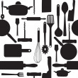 Vector seamless pattern of kitchen tools. - Stock Photo