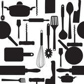 Vektor seamless mönster av köksredskap. — Stockfoto