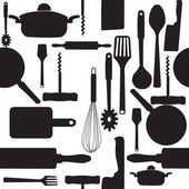 Vektorové bezešvé vzor kuchyňské nářadí. — Stock fotografie
