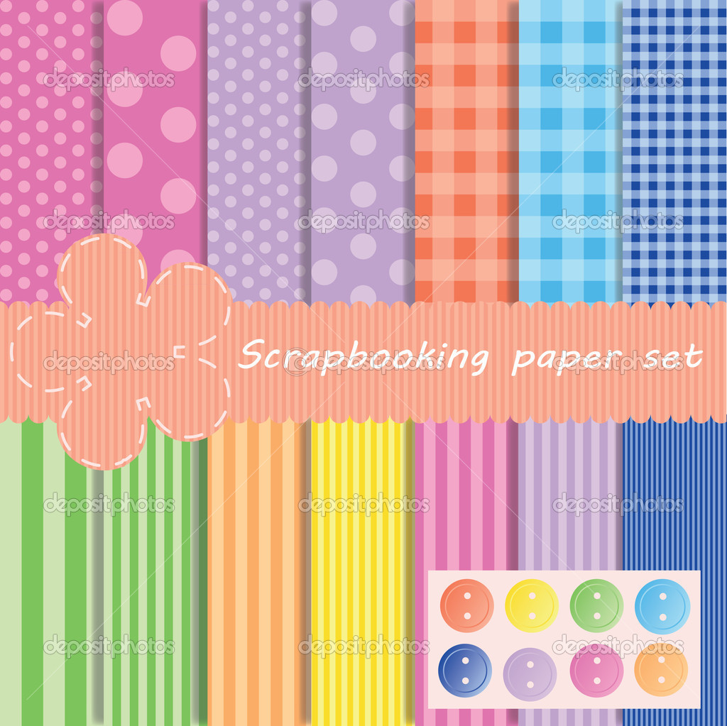 Set different vector paper for scrapbook  Stock Photo #8475572