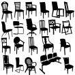 Set of Armchairs Silhouettes — Stock Photo