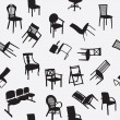 Big set of home chair silhouettes seamless pattern — Stock fotografie