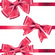 Vector set of different types of pink satin ribbons with bows — Stock Photo #8807517