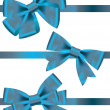 Vector set of different types of blue satin ribbons with bows — Stock Photo