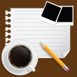 Blank book with coffee and photo frame vector illustration on bu — Stock Photo
