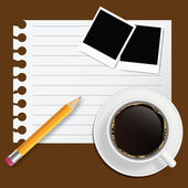 Blank book with coffee and photo frame vector illustration on bu — ストック写真