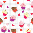 Stock Photo: Seamless pattern with cute cupcakes, vector illustration