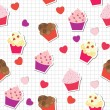 Seamless pattern with cute cupcakes, vector illustration - ストック写真
