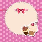 Vintage frame wit bogen und süße cupcakes-vektor-illustration — Stockfoto