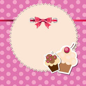 Vintage frame wit bow and cute cupcakes vector illustration — Stock Photo