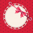 Vector greeting card with frame and bow. Space for your text or — 图库照片