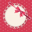 Vector greeting card with frame and bow. Space for your text or — Foto de Stock