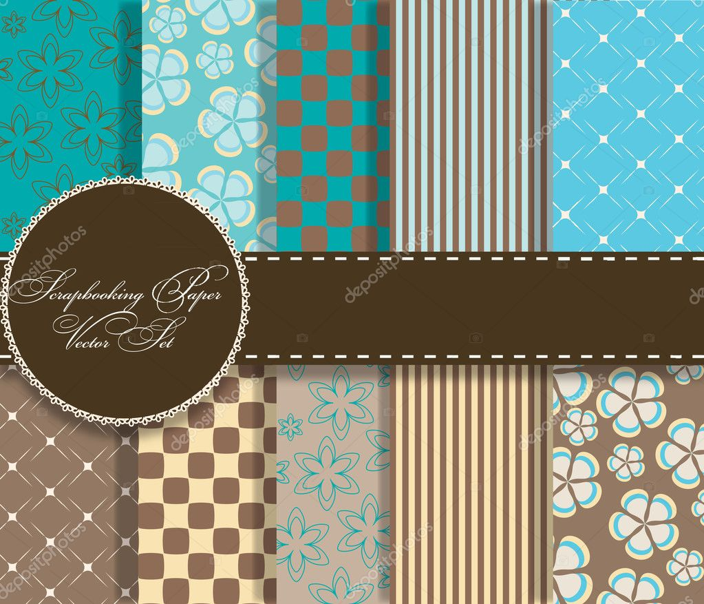 Set of beaautiful vector paper for scrapbook — Stock Photo #9151660