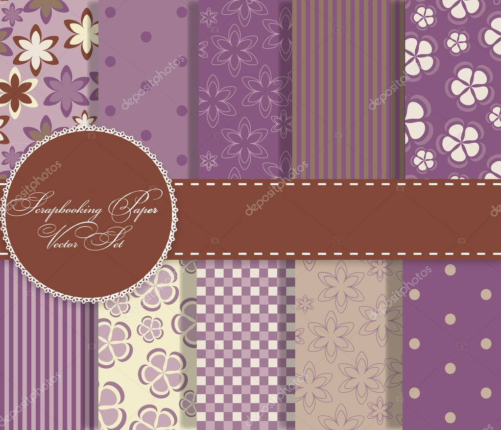 Set of beaautiful vector paper for scrapbook — Stock Photo #9193764