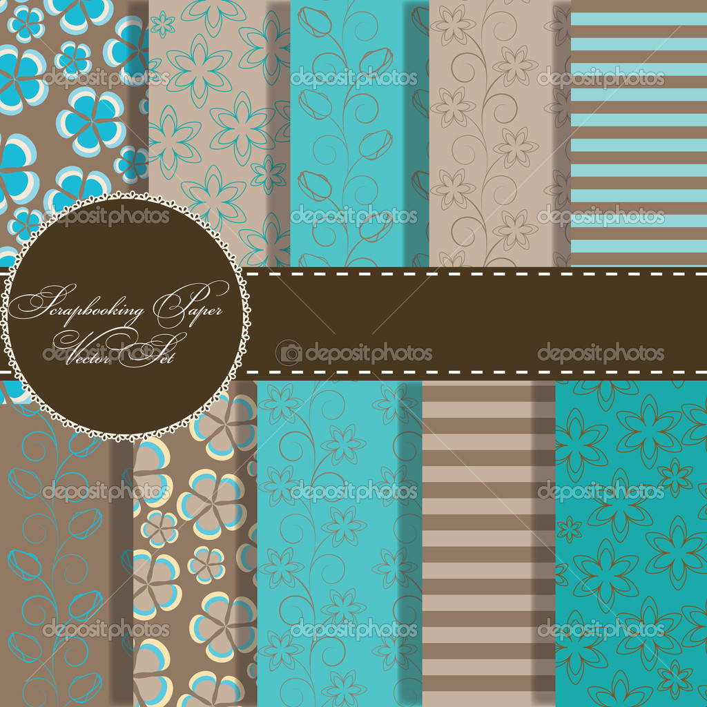 Set of beaautiful vector paper for scrapbook  Stock Photo #9193843