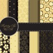 Stock Photo: Set of beaautiful vector gold and black paper for scrapbook