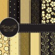 Стоковое фото: Set of beaautiful vector gold and black paper for scrapbook