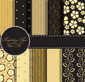 Set of beaautiful vector gold and black paper for scrapbook — 图库照片