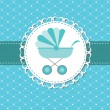 Foto de Stock  : Vector illustration of pink baby carriage for newborn boy