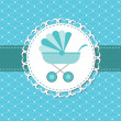 Vector illustration of pink baby carriage for newborn boy — ストック写真 #9259215