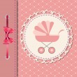 Stock Photo: Vector illustration of pink baby carriage for newborn girl