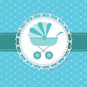 矢量插画的粉红色婴儿车新生儿的男孩 — 图库照片