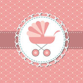 Vector illustration of pink baby carriage for newborn girl — Stock Photo