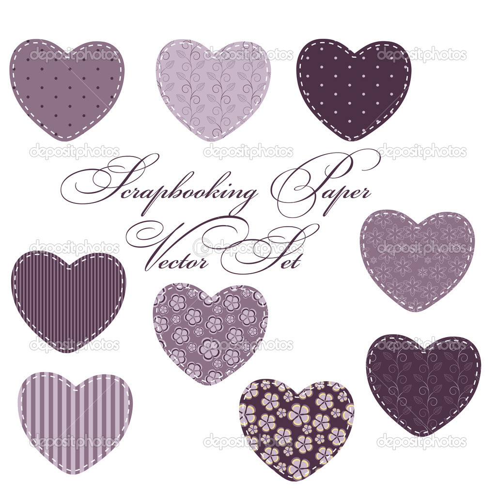 Set of different hearts, design elements — Stock Photo #9302339