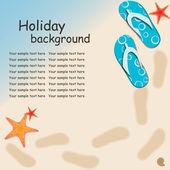 Sandalen en starfish bij strand aard zomer vector achtergrond — Stockfoto