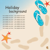 Sandals and starfish at beach nature summer vector background — Foto de Stock